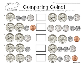 comparing coins money worksheet counting and comparing sets of coins. Black Bedroom Furniture Sets. Home Design Ideas