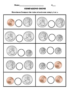 Comparing Coins Worksheet