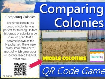 Comparing Colonies Task Cards with QR Codes {Differentiated}