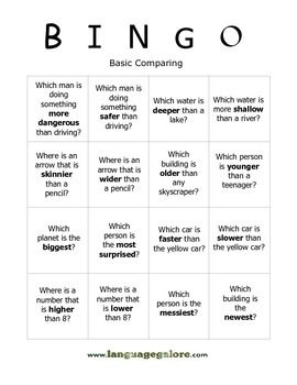 Comparing Concepts Bingo