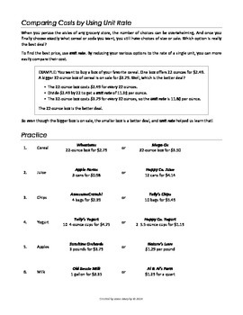 comparing cost using unit rate - Unit Rate Worksheet