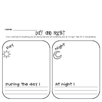 night worksheet for preschool night best free printable worksheets. Black Bedroom Furniture Sets. Home Design Ideas