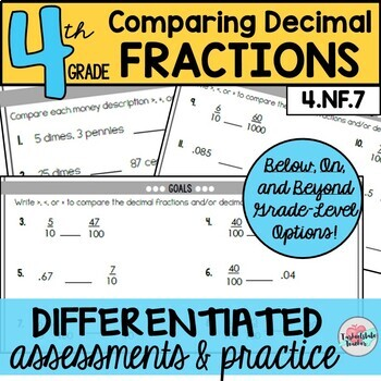 Comparing Decimal Fractions Assessments or Practice Sheets {Differentiated}