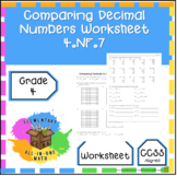 Comparing Decimal Numbers - Worksheet 4th Grade (4.NF.7)