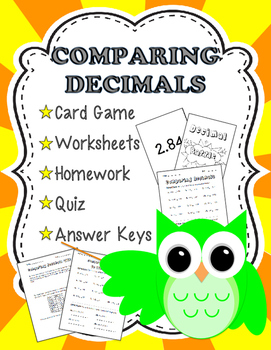 Comparing Decimals Card Game and Worksheets