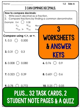 Comparing Decimals - Lesson Plans, Task Cards, and Quiz