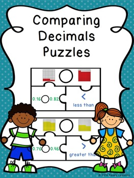 Comparing Decimals Game Puzzles - Comparing Decimals to Hundredths Place 4.NF.7