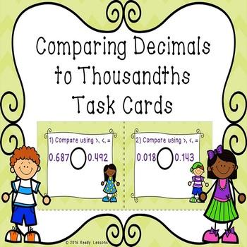 Comparing Decimals to Thousandths Comparing Decimal 5th grade Task Cards 5.NBT.3