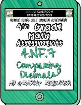Comparing Decimals - 4.NF.7 Self Grading Assessment Google Forms