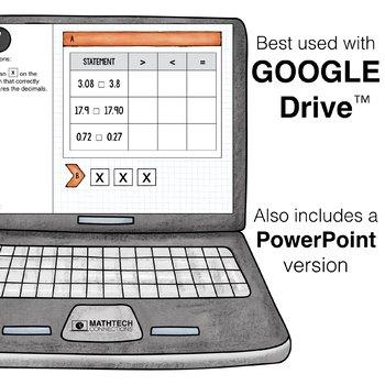 Comparing Decimals - 4th Grade Digital Math Assignments for Google Classroom