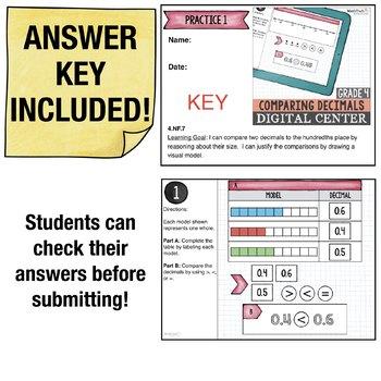Comparing Decimals - 4th Grade Google Classroom™ Math Activities | 4.NF.7