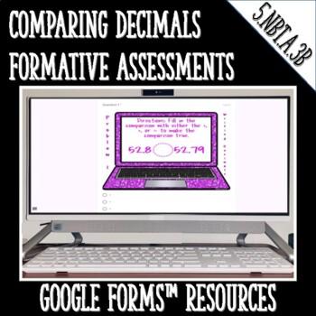 Comparing Decimals 5.NBT.A.3.B DIGITAL TASK CARDS for Google Classroom