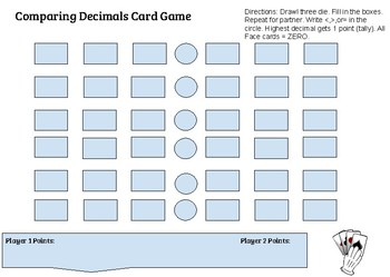 Comparing Decimals Card Game