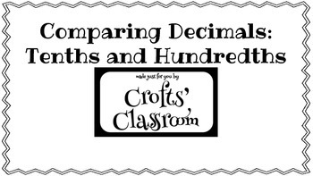 Comparing Decimals Cards