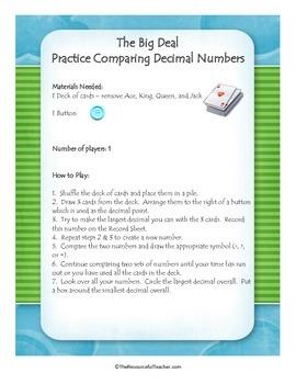 Math Center - Comparing Decimals