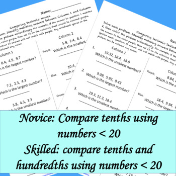 Comparing Decimals Color by Answer Fun Page: Differentiated