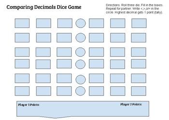 Comparing Decimals Dice Game- Simple Directions!