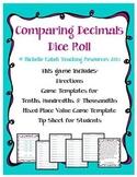 Comparing Decimals Dice Roll - Math Center or Pair Games