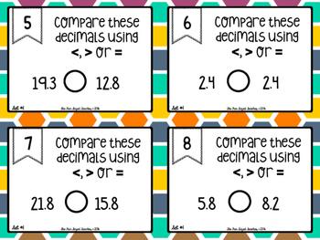 Comparing Decimals Differentiated Task Cards