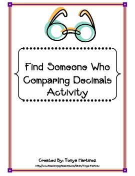 Comparing Decimals Find Someone Who Activity