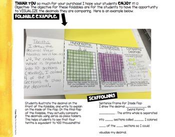 Comparing Decimals Foldables