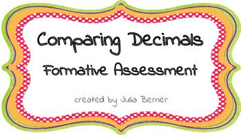Comparing Decimals Formative Assessment