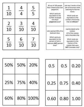 Comparing Decimals, Fractions and Percents