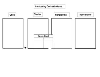 Comparing Decimals Game