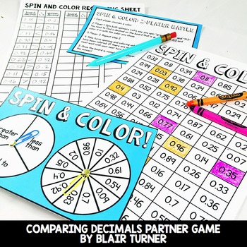 Comparing Decimals Game: 4th Grade Math Centers 4.NF.7