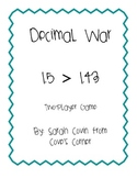 Comparing Decimals Game - Decimal War