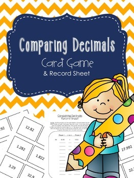 Comparing Decimals Game and Record Sheet
