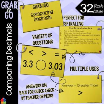 Comparing Decimals Grab & Go Flash Cards