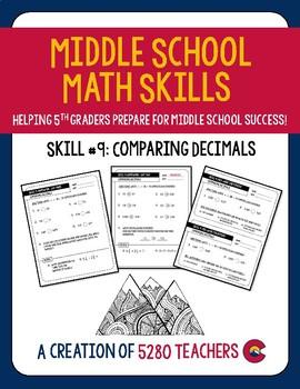 Comparing Decimals Homework and Quiz