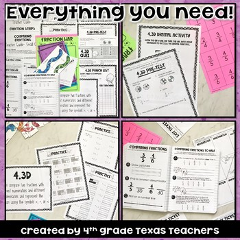 Comparing Fraction KIT Quiz, Task Cards, Worksheets, Activities & more TEKS 4.3D