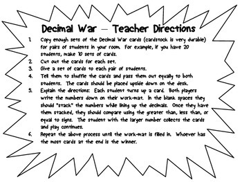 Comparing Decimals Math Center - Decimal War...Greater Than, Less Than
