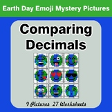 Comparing Decimals - Math Mystery Pictures - Earth Day Emoji