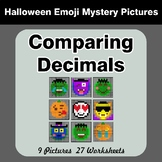 Comparing Decimals - Math Mystery Pictures - Halloween Emoji