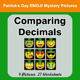 Comparing Decimals - Math Mystery Pictures - St. Patrick's Day Emoji