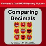 Comparing Decimals - Math Mystery Pictures - Valentine's Day Emoji