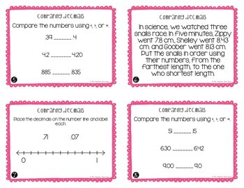 Comparing Decimals Task Cards for 4th Grade