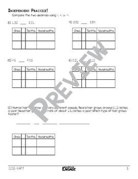Comparing Decimals Math Video and Worksheet