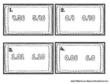 4th Grade Math: Comparing Decimals Task Cards