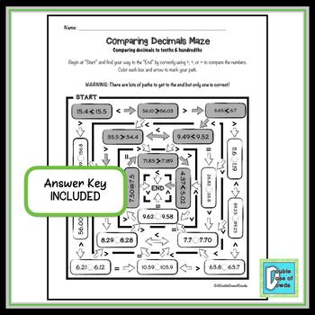 Comparing Decimals Maze - Hundredths