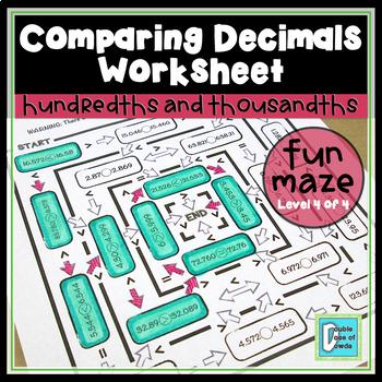 Comparing Decimals Maze - Thousandths