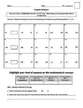 Comparing Decimals Organizers 1-3 (Common Core)