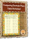 Comparing Decimals Place Value Worksheet