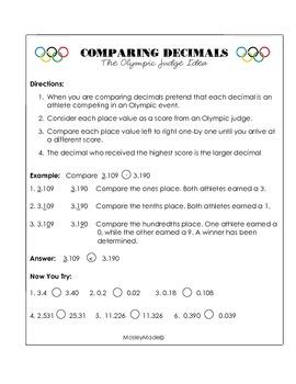 Comparing Decimals Printable