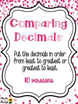 Comparing Decimals - Least to Greatest