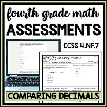 Comparing Decimals Quiz, 4th Grade 4.NF.7 Assessment, through Hundredths