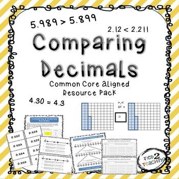 Comparing Decimals Resource Pack